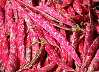 borlotto beans fresh peels for sale at the counter of the grocer