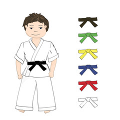 sport karate boy and colored belts