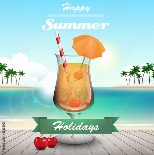 Summer coctail and text