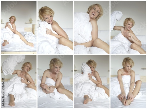 woman with fun in the bed - collage