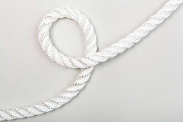 Nylon rope loop on a grey background
