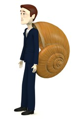 3d render of cartoon character with snail home