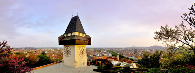 Old clock tower in Graz, 180 degrees panorama