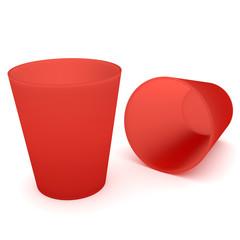 2 Rote Trinkbecher