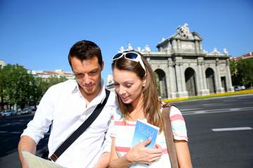 Tourist in Puerta de Alcala, Madrid