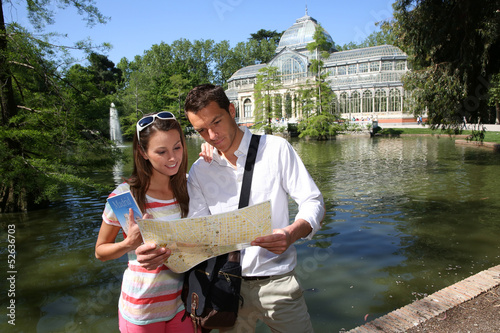 Tourists in Madrid Retiro Park by the Palacio de Cristal