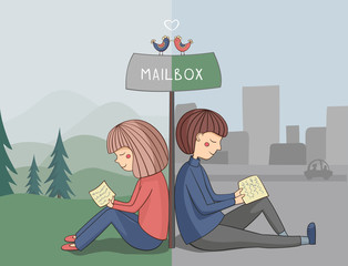 Girl and boy read mail