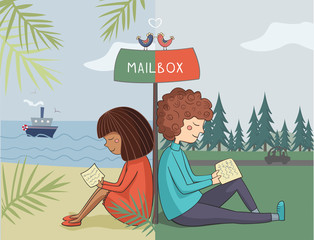 Multicultural girl and boy read mail