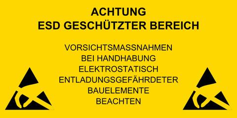 Schild - ACHTUNG ESD GESCHÜTZTER BEREICH