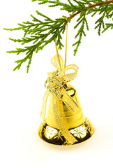 "clochette dorée suspension sapin ""Merry Christmas"""