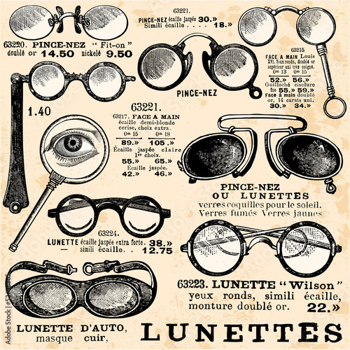 Deurstickers Retro Collection de Lunettes