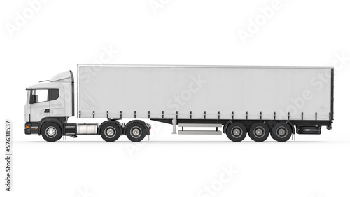 Cargo Delivery Truck Isolated on White Background - 52638537
