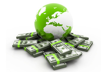 Globe and money.(global business).