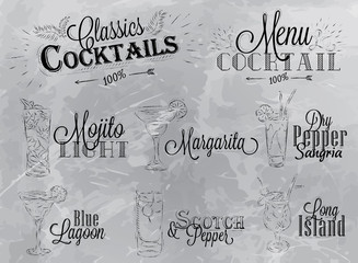 Set  cocktail menu charcoal