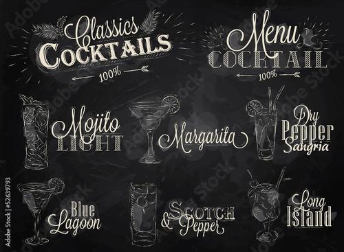 Fototapeta Set cocktail menu chalk