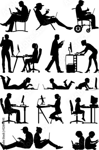 Computer people, vector silhouettes
