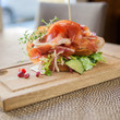 Parma Ham Sandwich On Wooden Plate