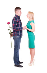 man with rose making surprise for his woman