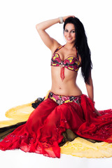 Beautiful Belly Dancer in a Red Costume