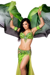 Bellydancer Dancing with a Green Silk Veil
