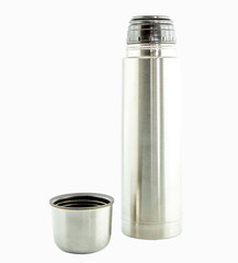 Metal Thermo flask isolate on white background