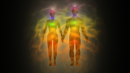 Woman and man energy body, aura, chakras