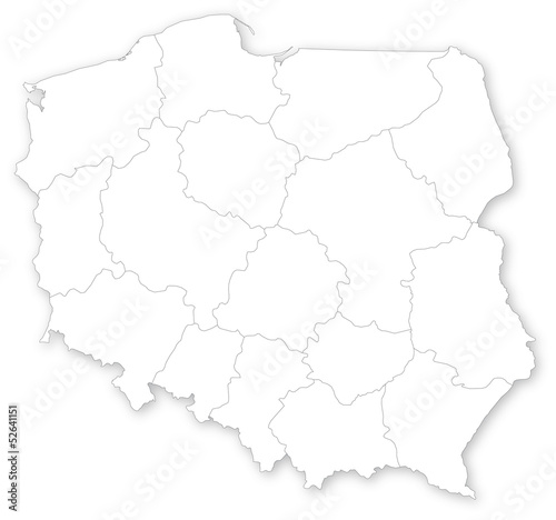 Simple map of Poland with voivodeships