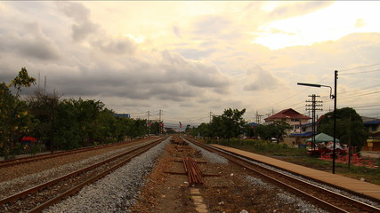 Clouds moving on railway, time lapse