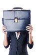 Businesswoman with briefcase on white