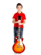 Portrait of young boy with a electric guitar