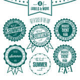 Set of summer events related vintage labels