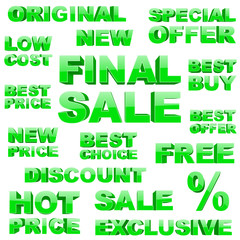 Shopping 3d tags set
