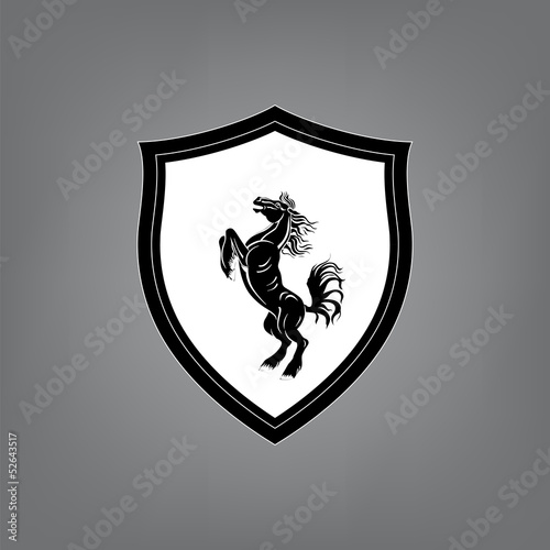 Overcoming of obstacles in horse symbol vector.