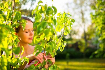 Pretty female gardener taking care of her lovely garden