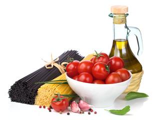 Italian food  - spaghetti, tomatoes, basil, olive oil, garlic