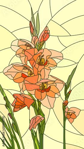 wektorowa-ilustracja-kwiatu-czerwony-gladiolus