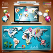 Vector world map design set of infographic elements.