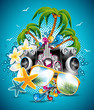 Vector Summer Beach Party Flyer Design with sunglasses