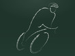 Cyclist - chalk on blackboard