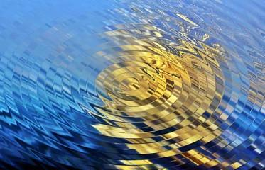 Riflesso di luce in un vortice d'acqua