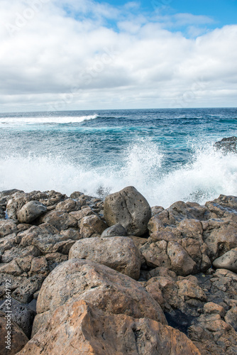 Lava rocks breakwater