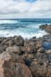 Lava rocks breakwater