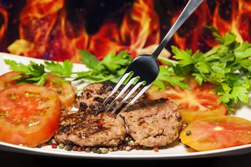 Salsicce guarnite cotte alla griglia