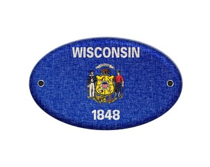 Wooden sign of Wisconsin.