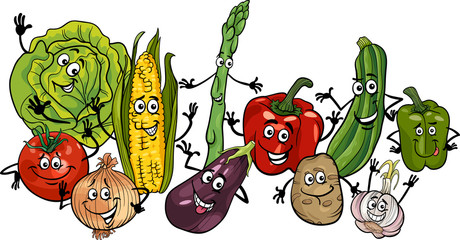 happy vegetables group cartoon illustration
