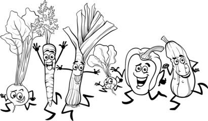 running vegetables cartoon for coloring
