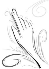 mano destra che indica bianco e nero