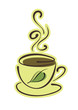 Cup of hot herbal tea with green leaf on white background. Eps10