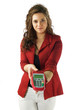 Attractive woman holding a visa machine