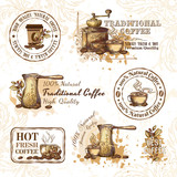 Set of coffee design elements